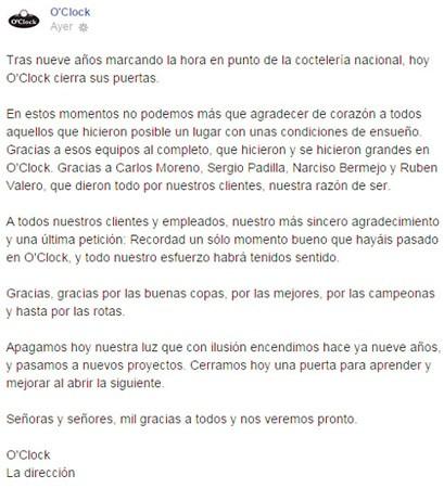 Comunicado Facebook coctelería O'Clock (Madrid)