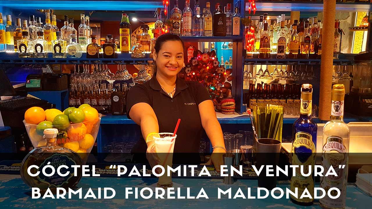 Cóctel con tequila de la barmaid Fiorella Maldonado en la coctelería El Chaparrito de Ventura (Madrid)