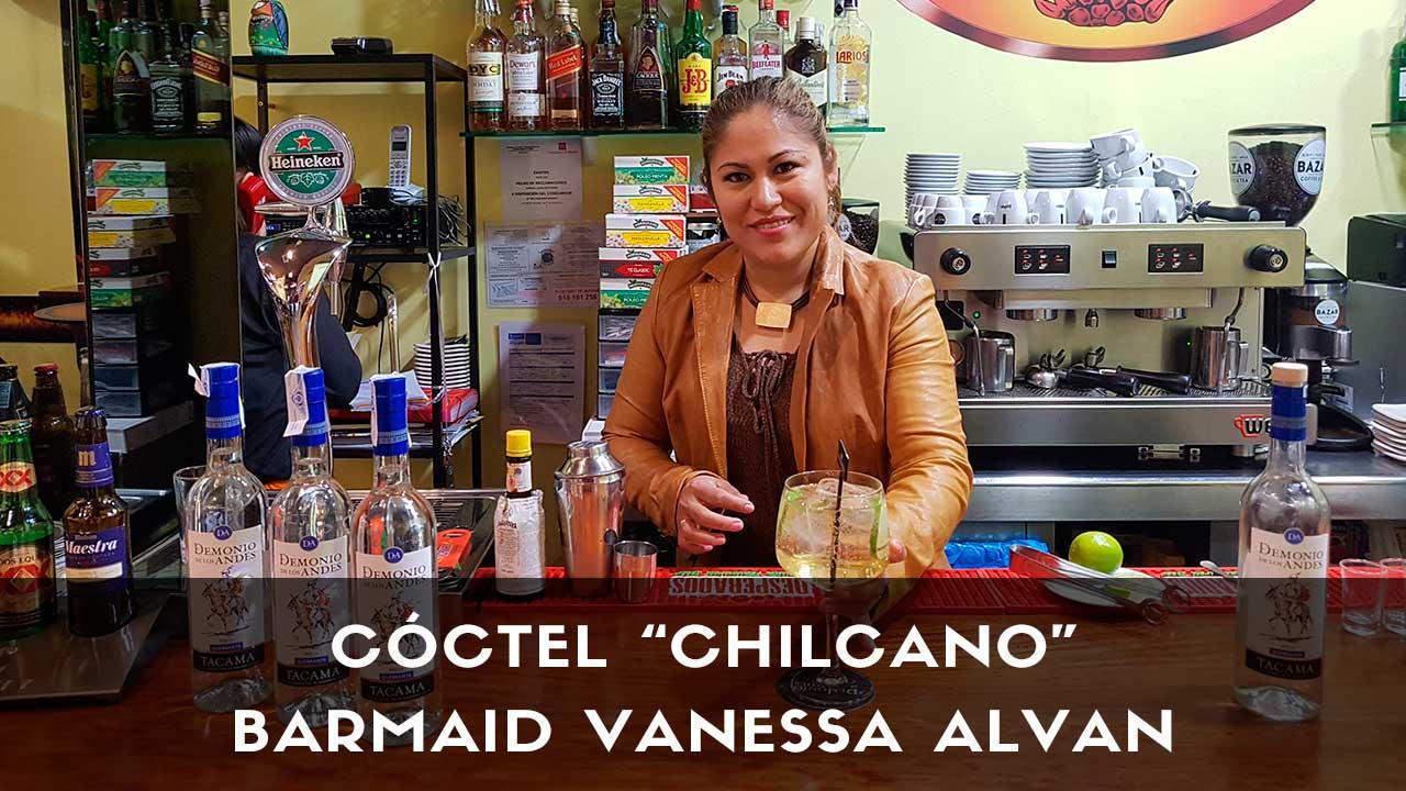 Cóctel Chilcano de pisco de la barmaid Vanessa Alvan en Pollo y Carbón (Madrid)