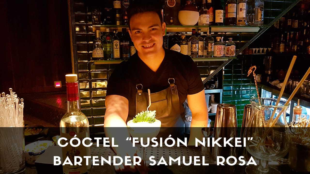 Cóctel con pisco, del bartender Samuel Rosa en la coctelería Decadente (Madrid)