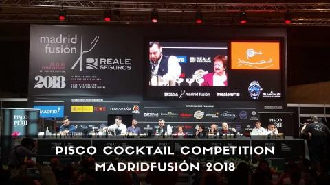 Bartender de coctelería participando en Pisco Cocktail Competition en MadridFusión 2018