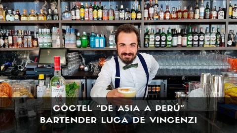 Cóctel con pisco del bartender Luca de Vincenzi en la coctelería de Ginkgo Sky Bar (Madrid)