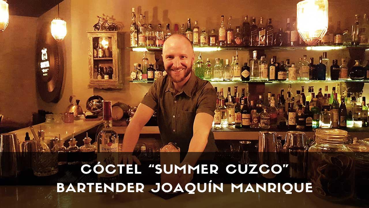 Cóctel con pisco del bartender Joaquín Manrique en la coctelería Surya Easy Bolo (Madrid)